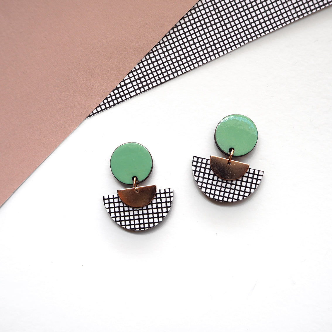 Semi circle disc earrings