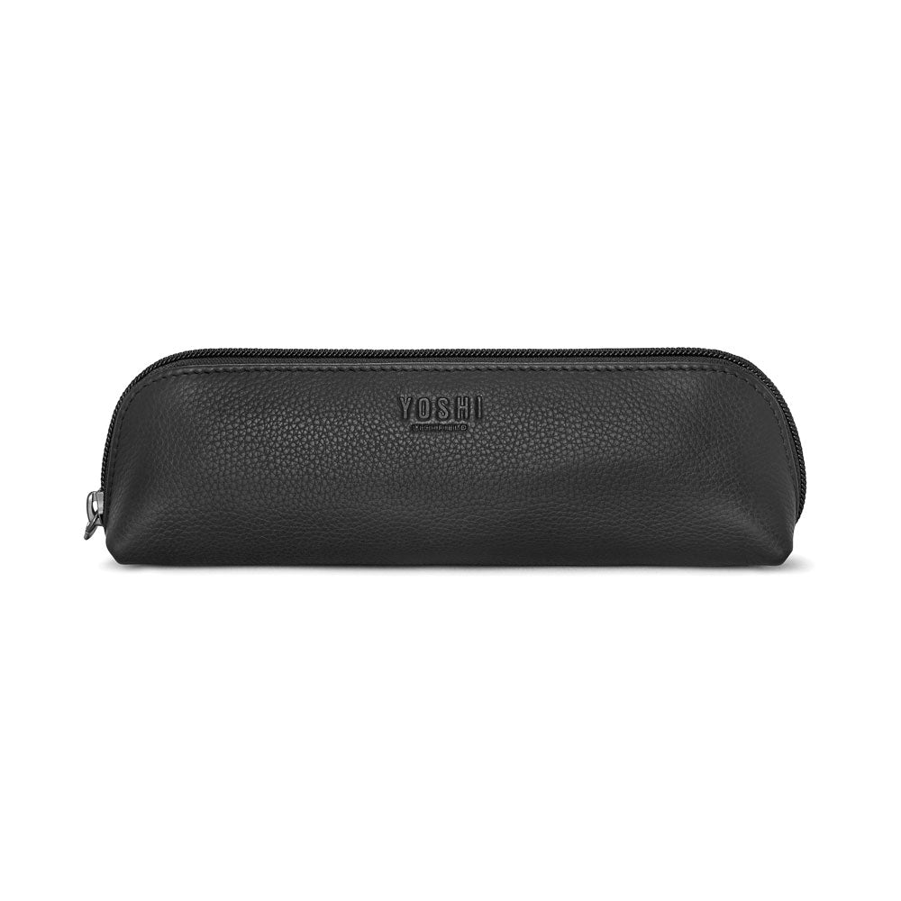 Leather Pouch Zip Top Pencil Case - Black