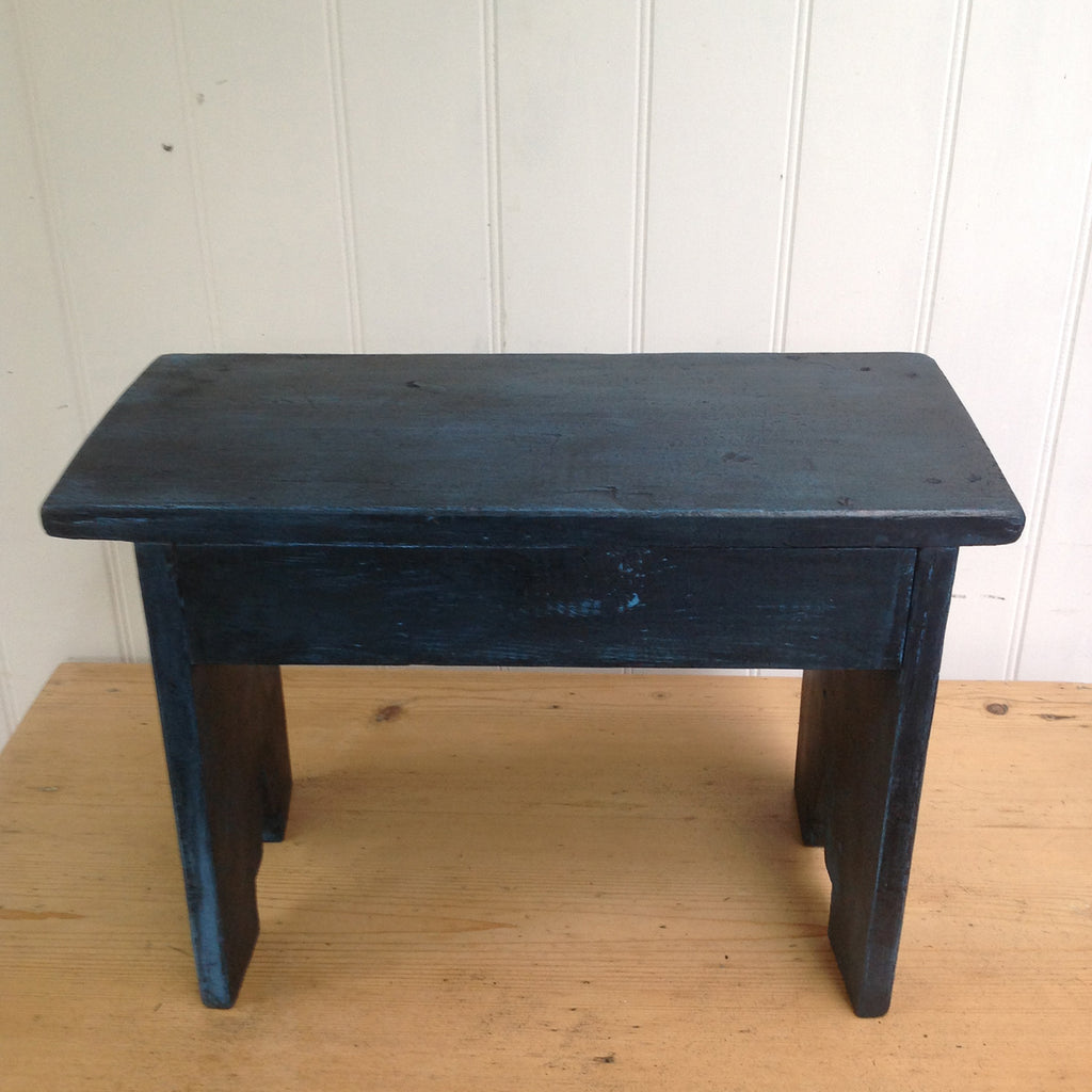 Vintage blue painted wooden stool