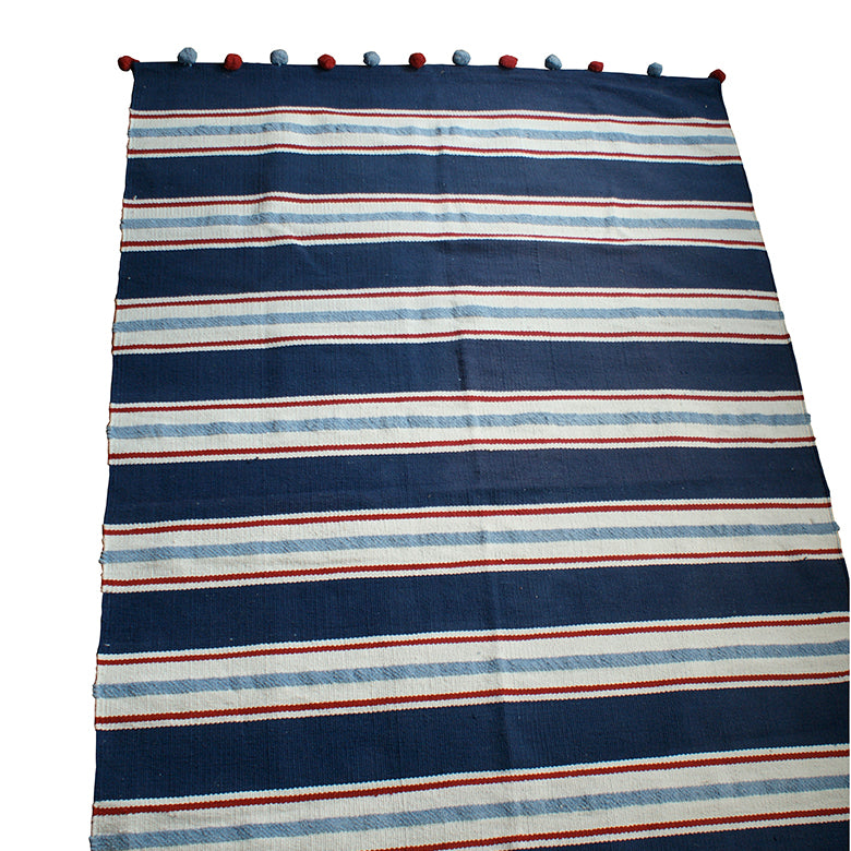Cotton Striped Rug with Bobble Trim