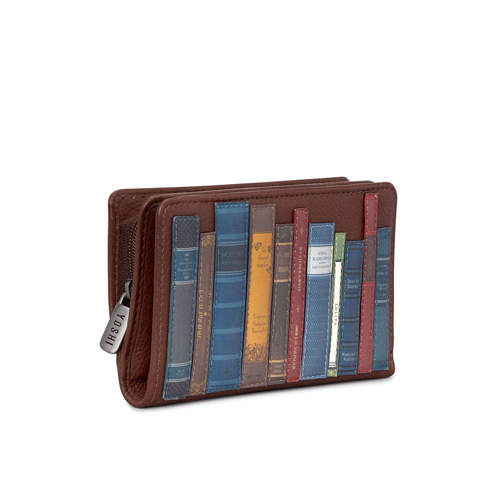 Bookworm Library Leather Zip Around Purse- Brown