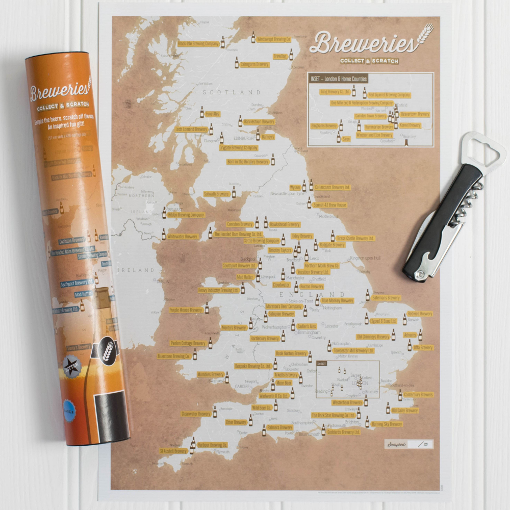 Breweries Collect and Scratch Map Print