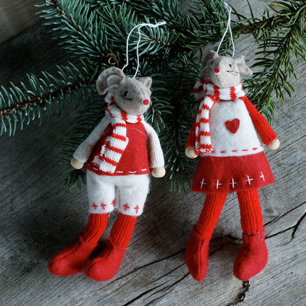 Nordic Christmas Mice- hanging Christmas decorations