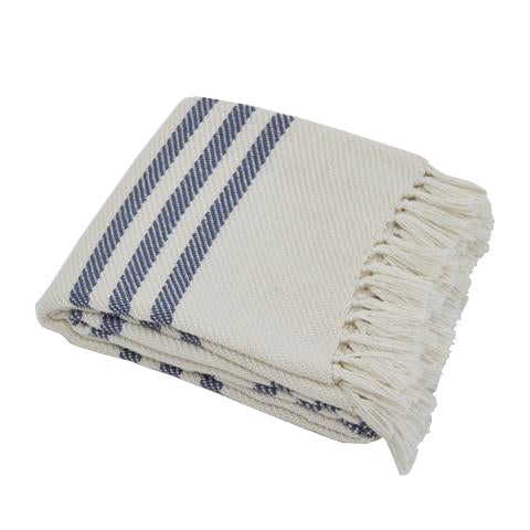 Classic blue striped throw