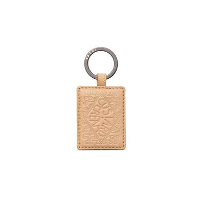 Custard Cream Leather Keyring