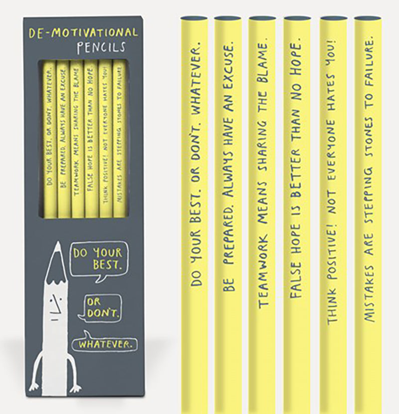 "Set of six  ""De-Motivational"" Pencils"