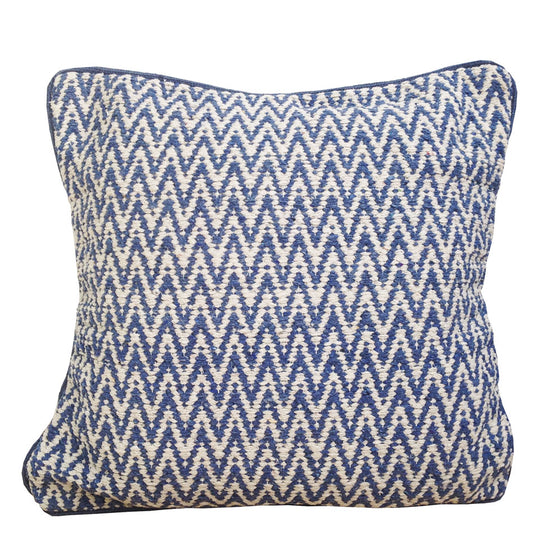 Denim Blue Zig Zag modern cushion