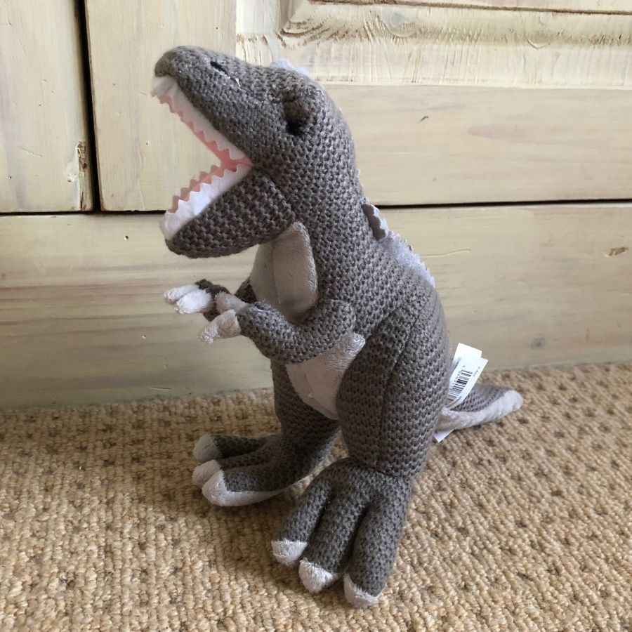Knitted T-Rex Dinosaur -Toy- Grey
