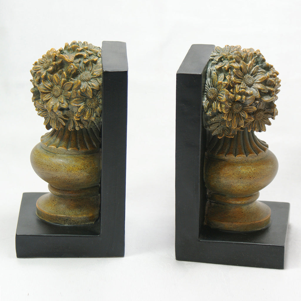 Antique flower bookends