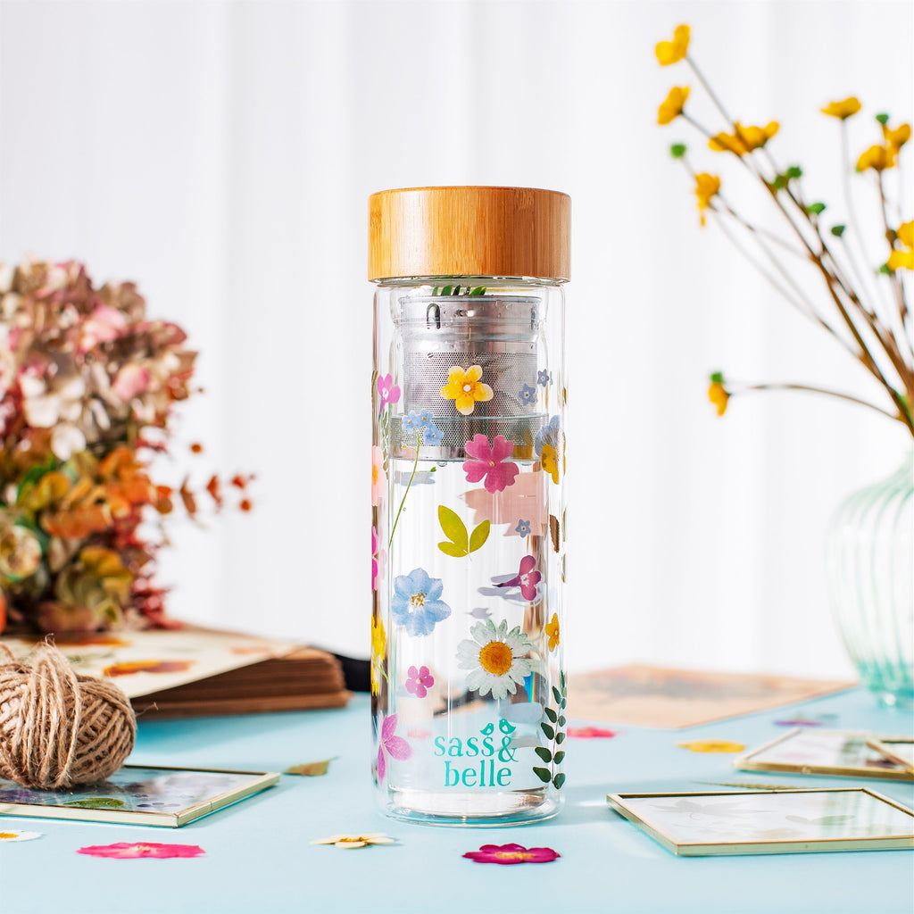 Glass Water bottle with infuser -Flowers