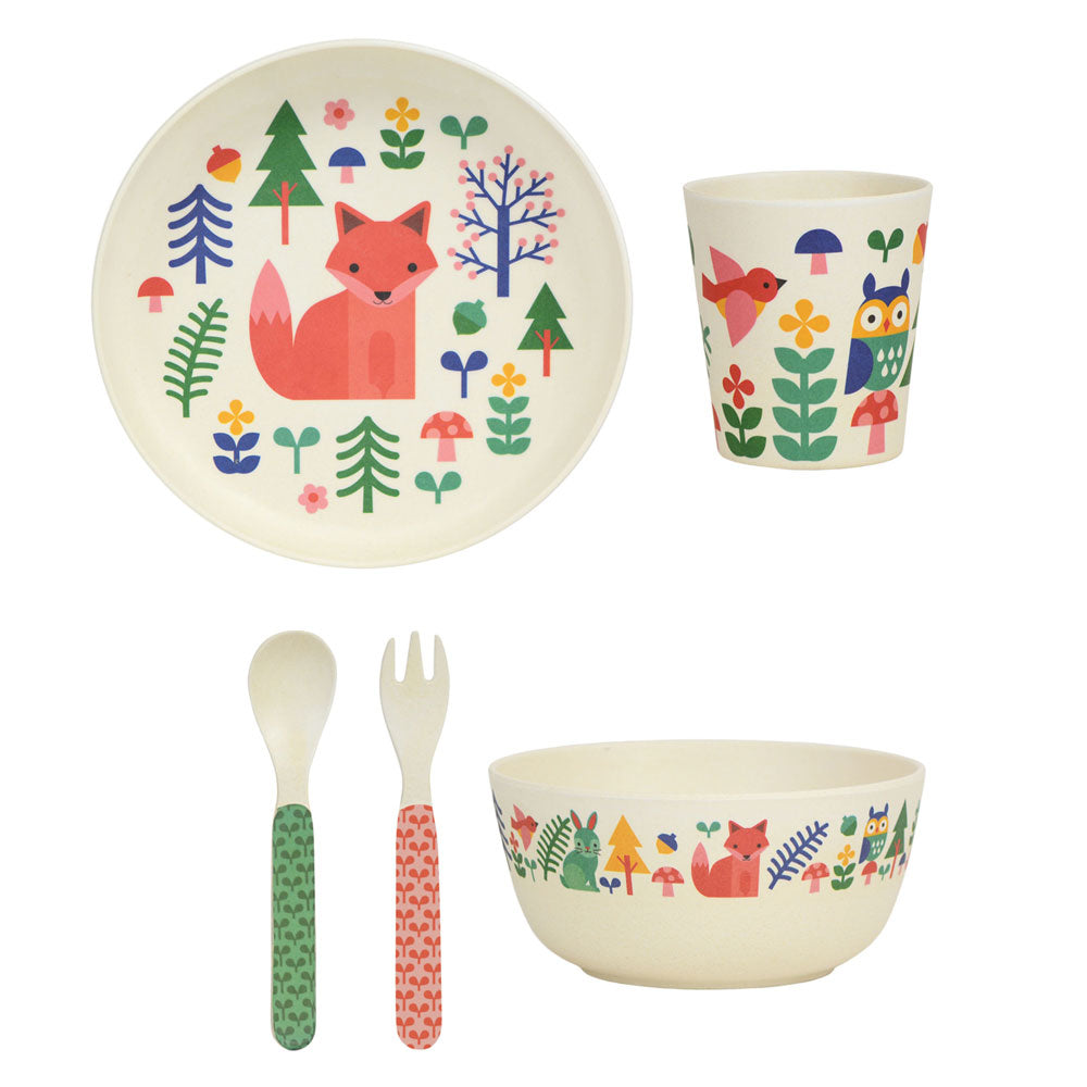Kids plate, bowl, cup and cutlery