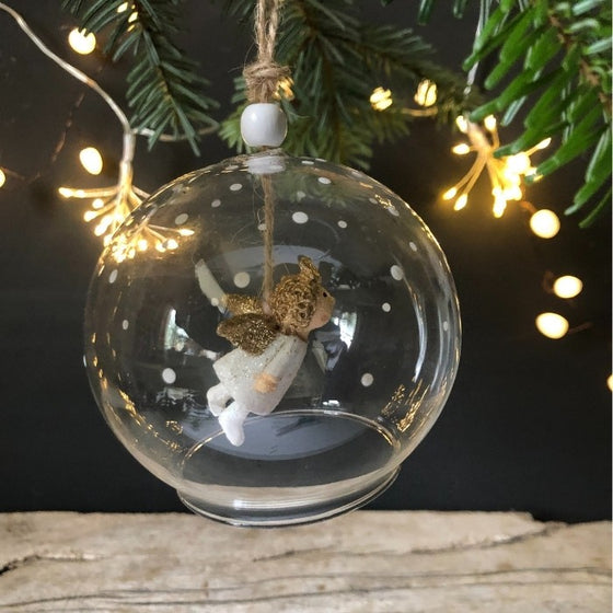 Glass Bauble with flying angel