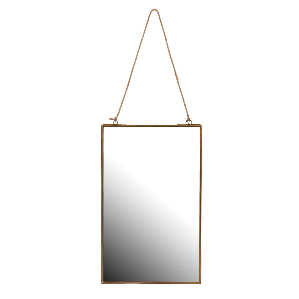 Rectangular gold mirror with rope hanger