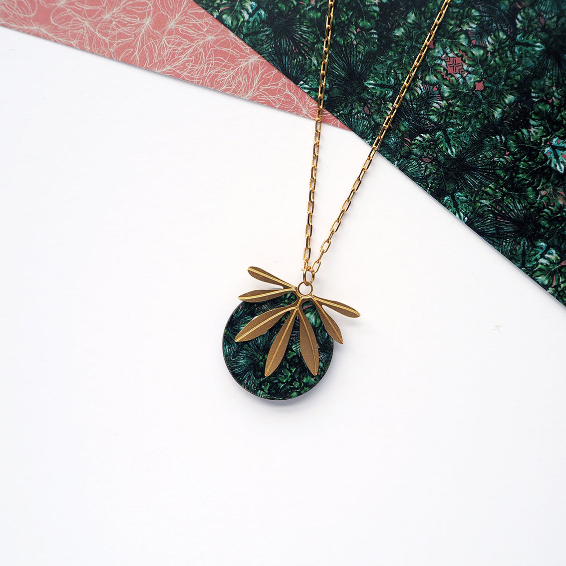 Gold palm leaf necklace| Mica Peet