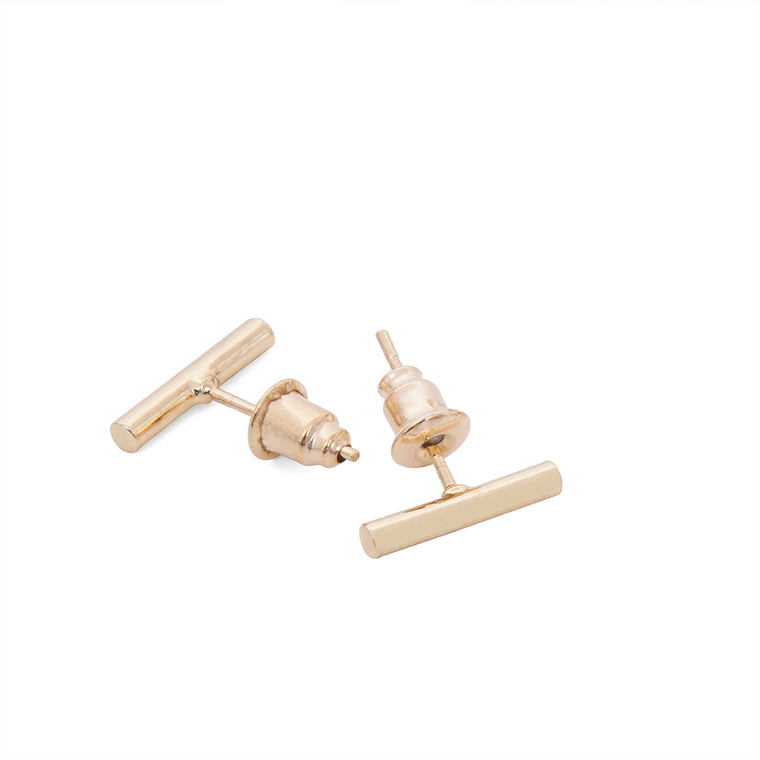 Gold Bar Stud earrings, contemporary jewellery a splendid gift