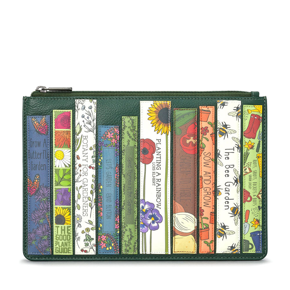 Green Leather Garden Books Pouch