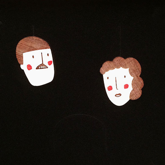 Face earrings hand made Materia Rica