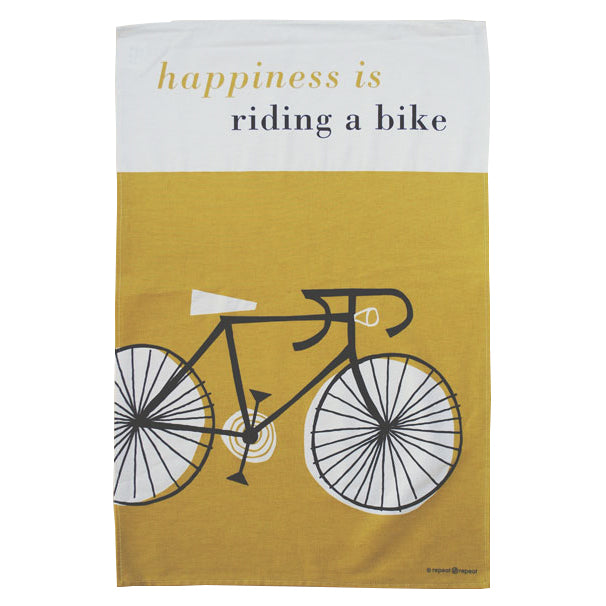 Tea Towel -Happiness is Riding a Bike