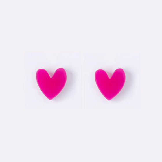 Fuchsia Heart Earrings