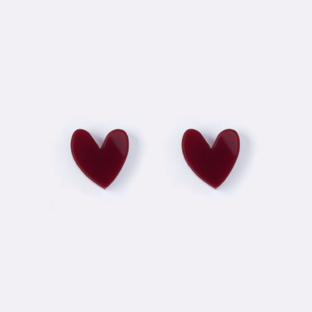 Maroon Heart Earrings