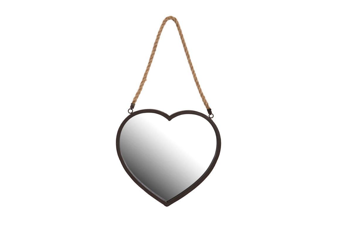 Heart shaped hanging mirror