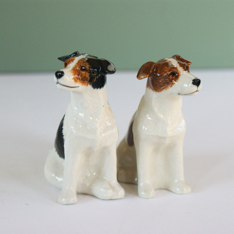 Jack Russel ceramic salt and pepper shakers