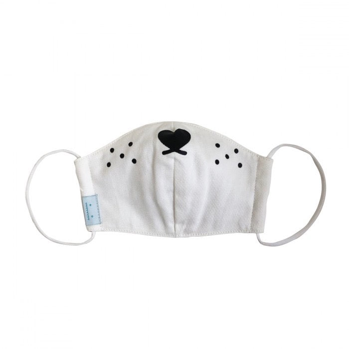 Childs Puppy Face Mask - White