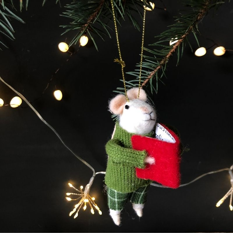 Hanging Felt Christmas Mouse in Green Jumper