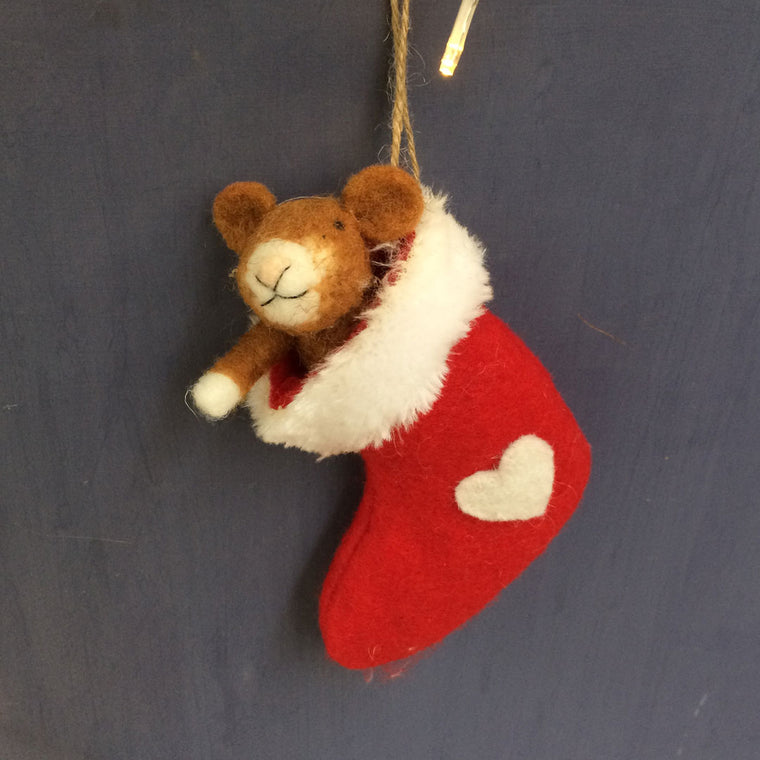 Christmas decoration-mouse in felt stocking