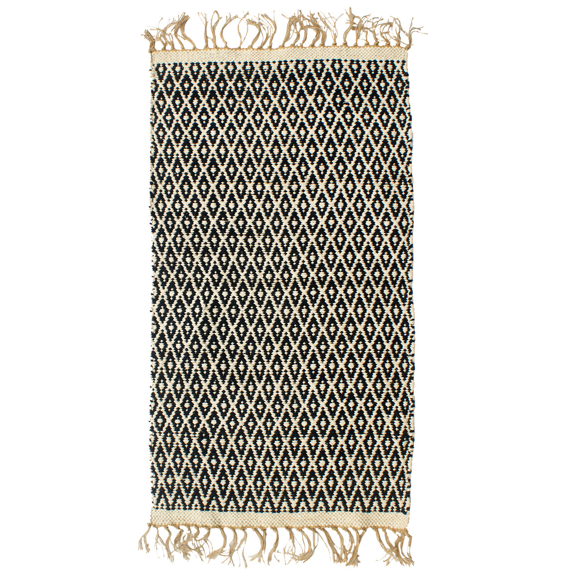 Navy Diamond Cotton & Jute Rug