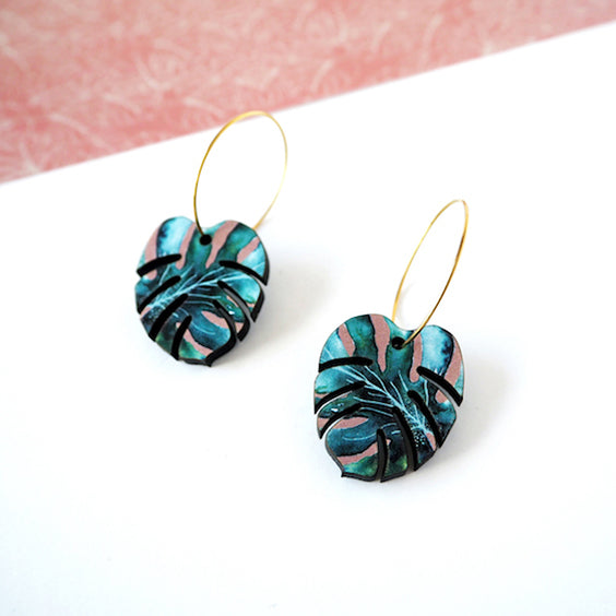 Green monster hoop earrings