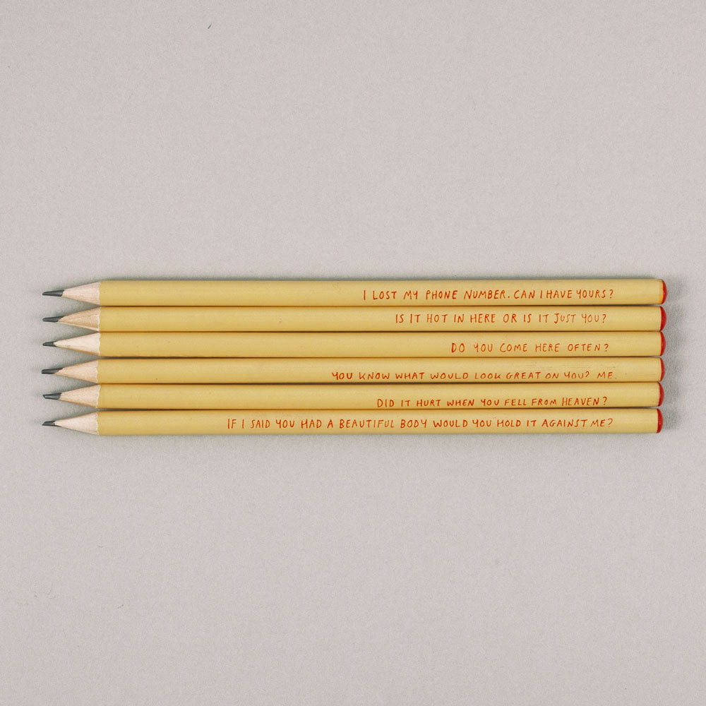 Set of 6 Pick Up Line Pencils