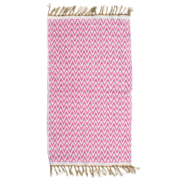 Pink Zig Zag re-cycled rug