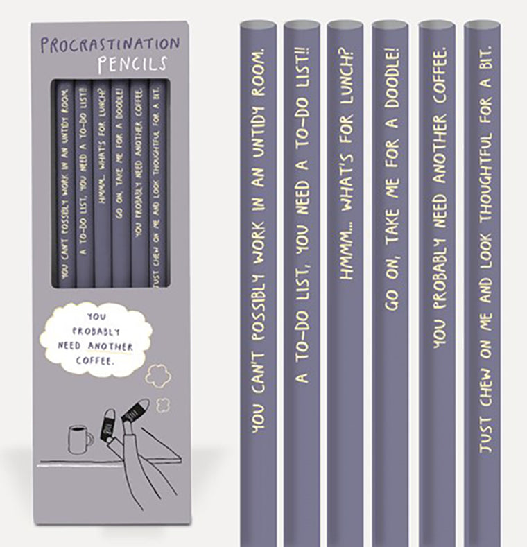 "Set of 6 ""Procrastination"" Pencils"
