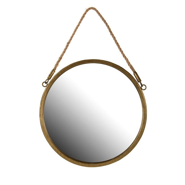 Round Mirror in Gold with rope hanger