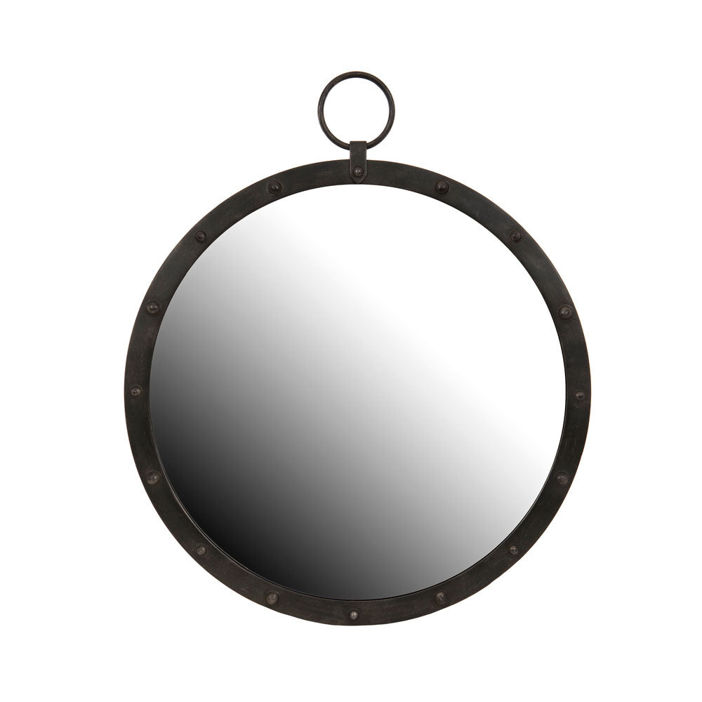 Round Mirror with studded frame