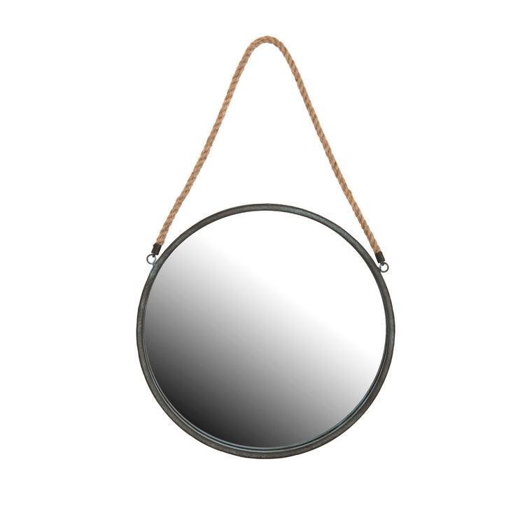Round industrial style wall mirror with rope hanger