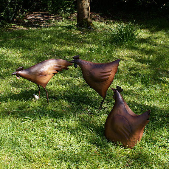 Rusty Red Hen Garden Decoration- Sitting