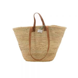 Hand woven French shopping basket with long and short leather handles