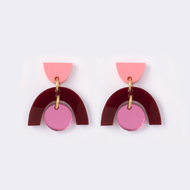 Sophia Maroon Drop Earrings