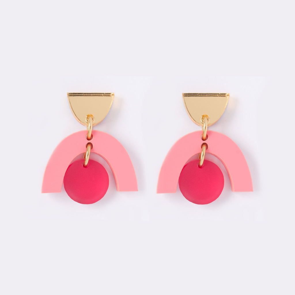 Gold and pink modern perspex drop earrings