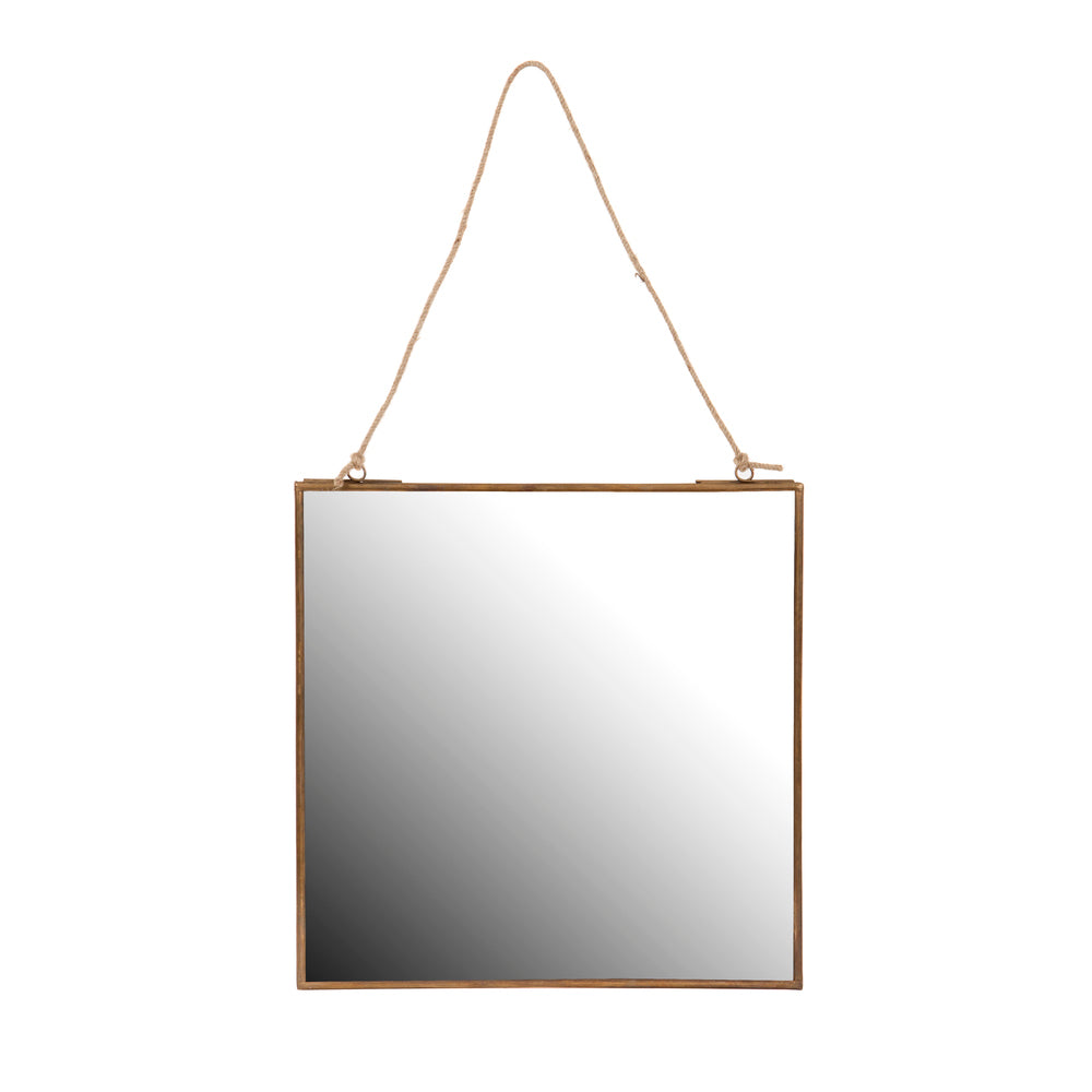 Square hanging mirror with rope hanger