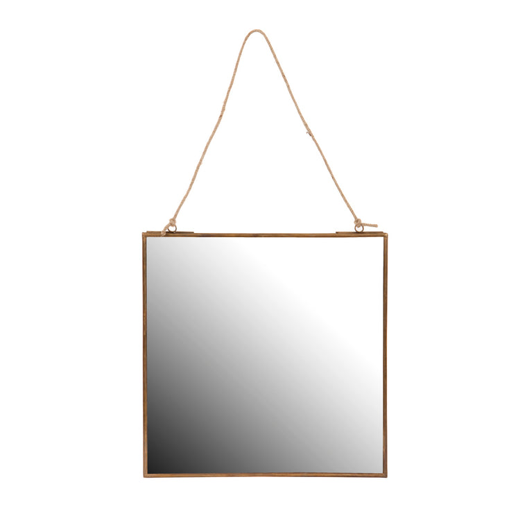 small square hanging wall mirror
