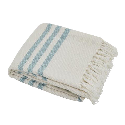 Teal striped Throw - Red Hen Trading