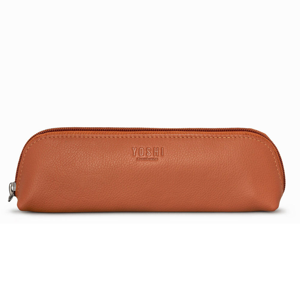 Slim Tan Leather Pencil Case