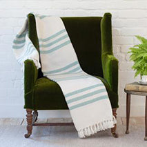 Classic striped Teal Throw
