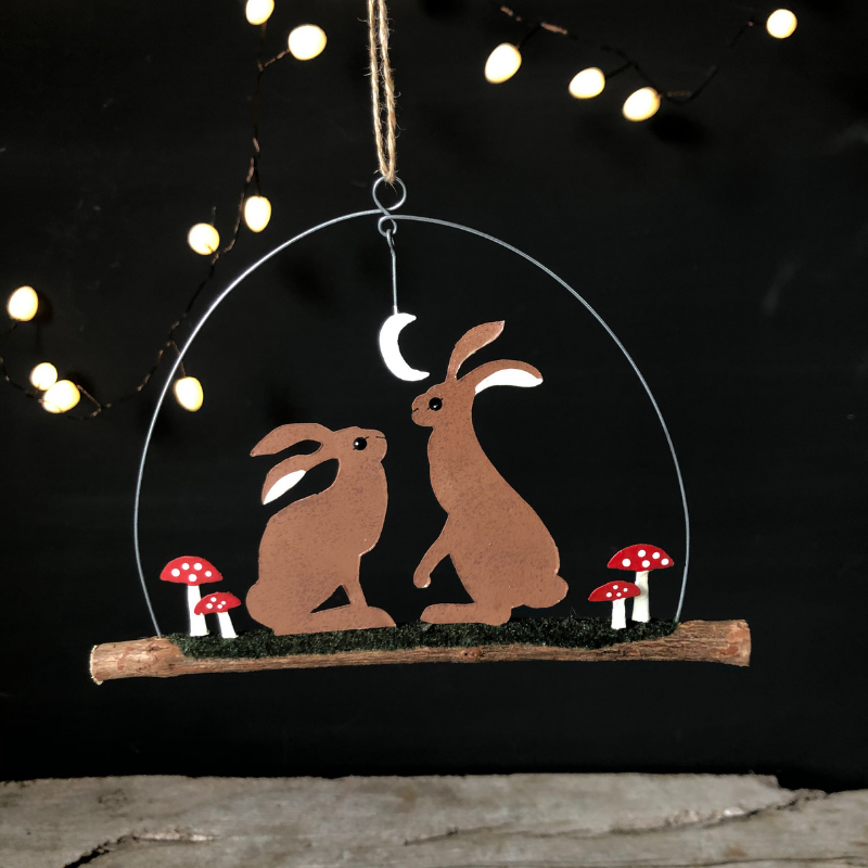 hares in the moonlight hanging decoration