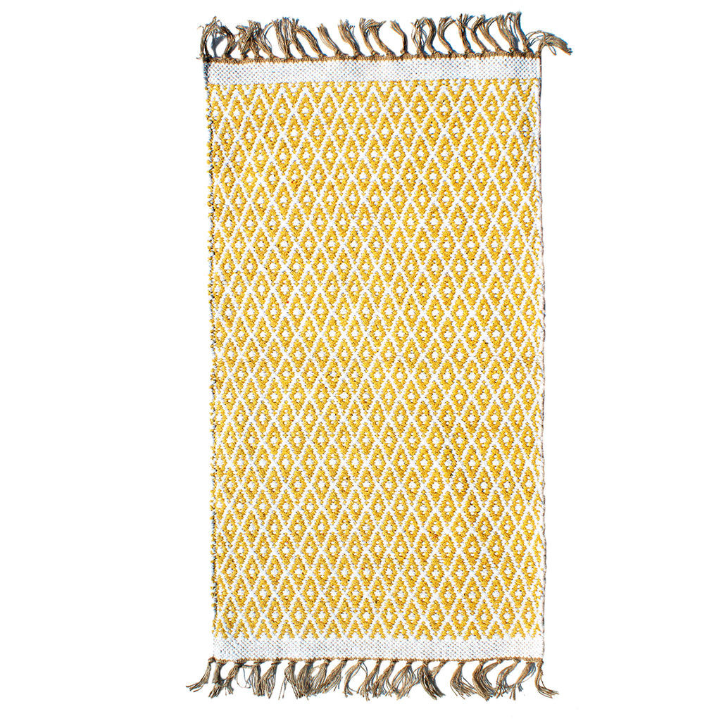 Yellow Diamond cotton rug