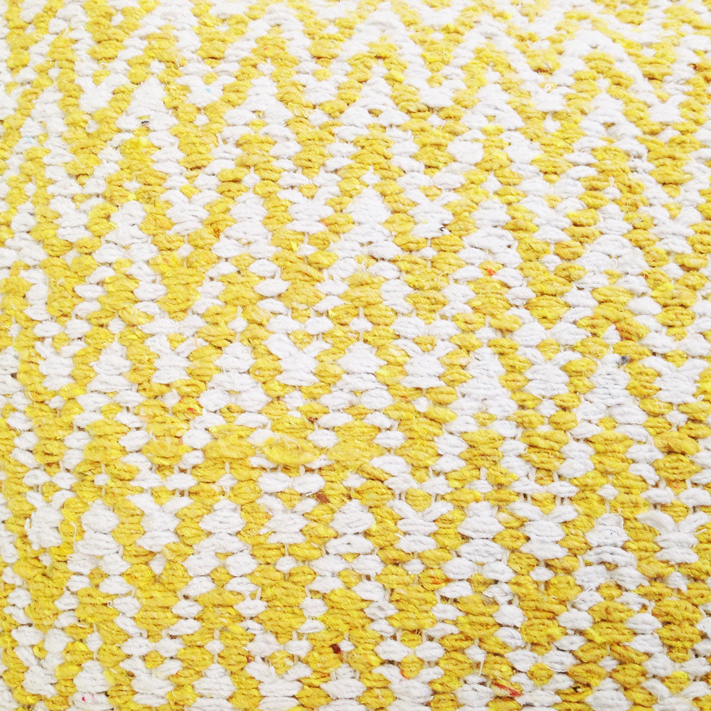 detail of yellow zig zag cushion 100% cotton