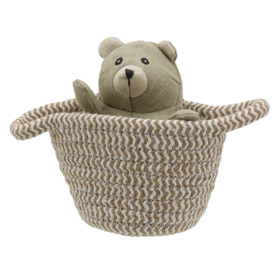 Linen small bear in a basket toy